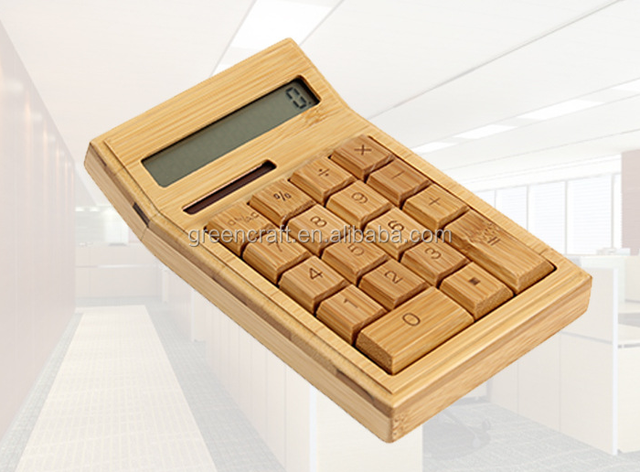 The Calculator Made of Bamboo With Solar