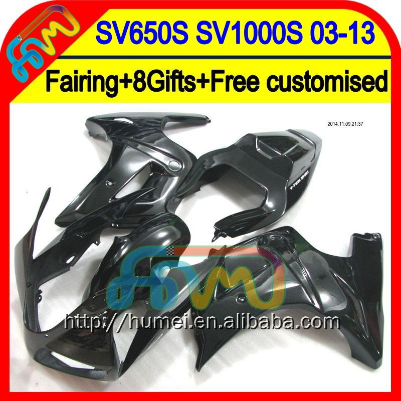 8Gift+ For SUZUKI ALL Black SV650 S 2008 2009 2010 2011 2012 2013 Glossy black 9HM6100 SV1000S SV650S SV1000 S 03-13 Fairing