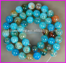 KJL-BD8007 8mm Cracked Round Green Fire Agate Beads