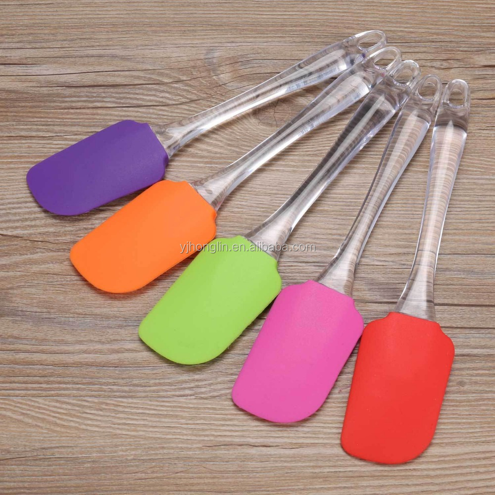 butter cream bakeware clear diposable silicone long plastic spatula