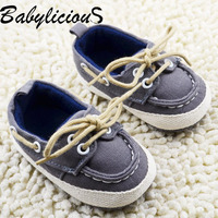 Baby Boy gray Sneakers Soft Bottom Crib Shoes Size Newborn to 18 Months