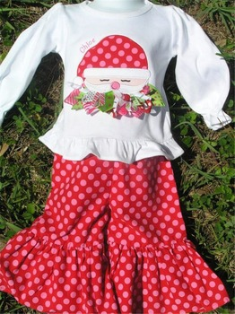 fashion christmas pink polka dots ruffle pants embroidery design little girls boutique sets