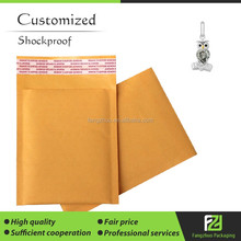14*20cm first class printed customized gold kraft paper bubble bags
