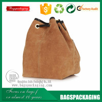 genuine packaging drawstring leather pouch bag for men