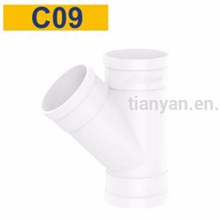 Factory price Manufacturer good quality PVC plastic 45 degree skew Equal Y branch tee pipe fitting for drainage