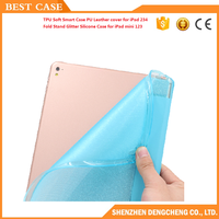 TPU Soft Smart Case PU Leather cover for iPad 234 Fold Stand Glitter Silicone Case for iPad mini 123