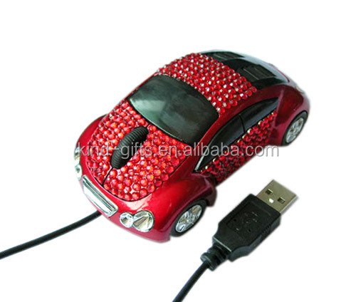Bling car-shaped anr colourful crystal personalized decorative gaming mouse