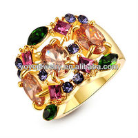 Colorful Crystal Jewelry Ring Best Selling in alibabba High-Grade Gift Fashionable Ring