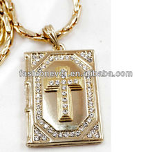 Bling Hip Hop Iced Bible with Cross GOLD FINISH CZ Chain 36'' Necklace