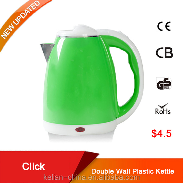 Plastic water kettle, stainless steel electric kettle for water boiling