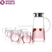 Hot Sale Handmade Clear Glass Water Jug Set