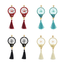 4Colors Fashion Boho Long Gold Plated Tassel Party Dangle Dreamcatcher Earring Birthday Gift