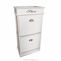 Hot Selling Cabinet Style White Wood Shoe Rack