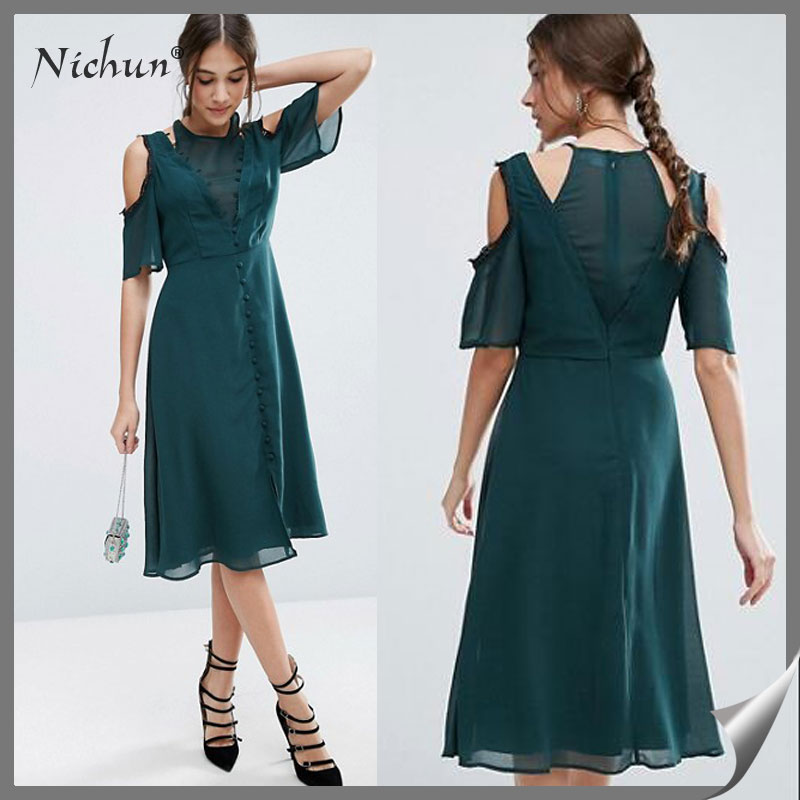 2016 Latest Sexy Ladies Without Dress Long Chiffon Women Casual Summer Cold Shoulder New Style Dress
