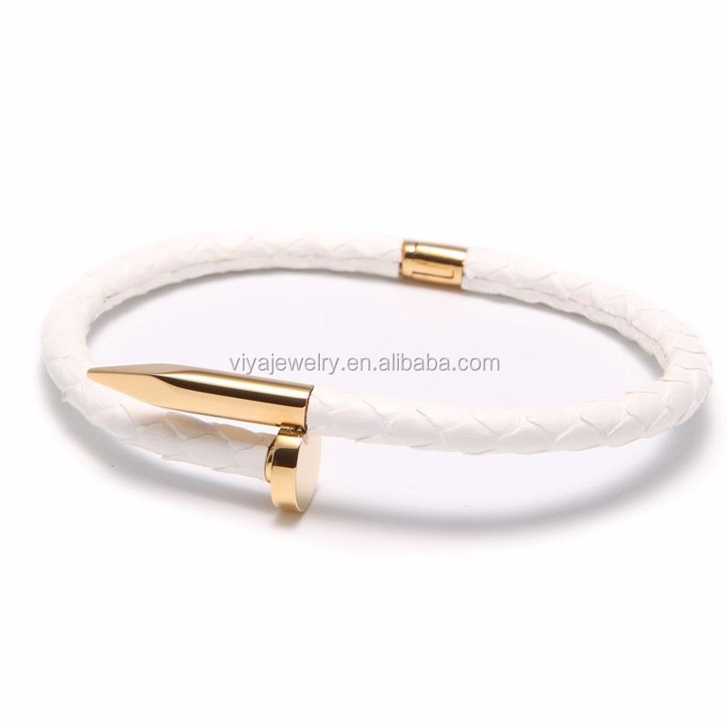 18k gold plated bangle TOP QUALITY Stainless Steel Nail Bracelet Silver gold Plated Women Jewelry Nail Screw Cuff Bangle