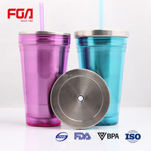 Stainless Steel Travel Coffee Cup tumbler cup with straw