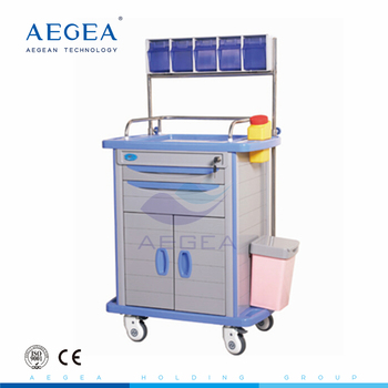 AG-AT001A3 ABS material two drawers and one door anesthesia cart hospital emergency crash trolley