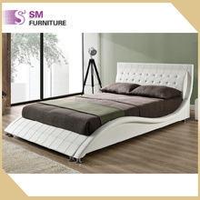 2017 luxury modern wave shape leather bed for bedroom