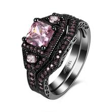 elegant ring rhodium color two finger crystal fashion ring