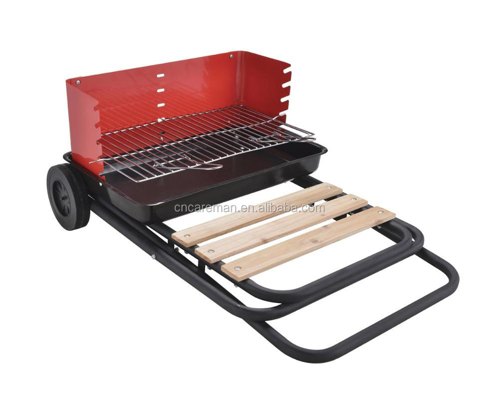 Foldable Iron Trolley Charcoal Barbecue/BBQ Grill, Folding Dolly/Cart BBQ Grill with 2 Wheels, Wind Shield & Wooden Shelf