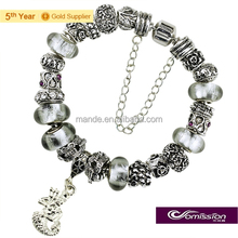 Fashion popular handmade murano glass beads bracelets ,diamond beads bracelet with cute hippocampus