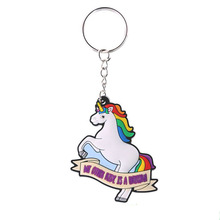 Promotional gifts cute horse shape keyring soft pvc custom 2D keychain