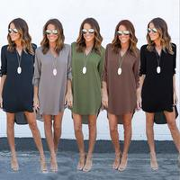 Simple but nice new arrival pure color long sleeve v neck chiffon dress with plus size