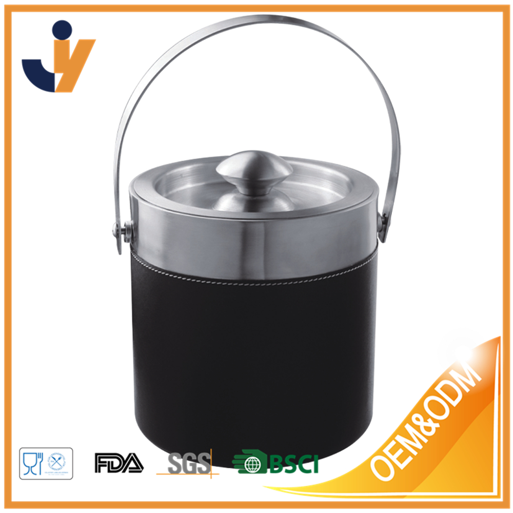 Wine Cooler- Ice Bucket Double Wall 18/8 Stainless Steel with black leather Surface - BPA free
