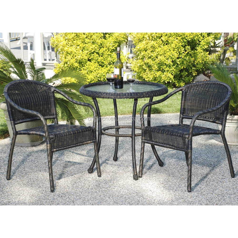 Retro look outdoor rattan round patio set coffee shop for Wholesale patio furniture