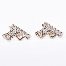 New design earring accessories micro pave gun shape earrings stud