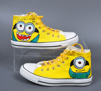 Minions Shoes Despicable Me 2 Cartoon Canvas Men Shoes Hand Painted Fashion Girls Casual Shoes for Children Shoes For Women