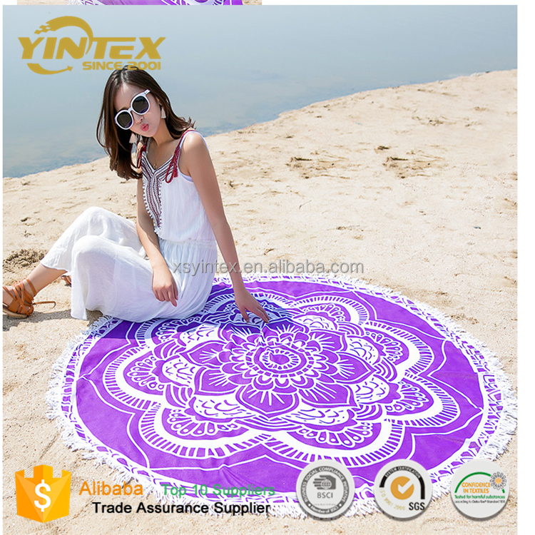 Yoga Mat Printed Outdoor Round Pocket Sandproof Beach Blanket