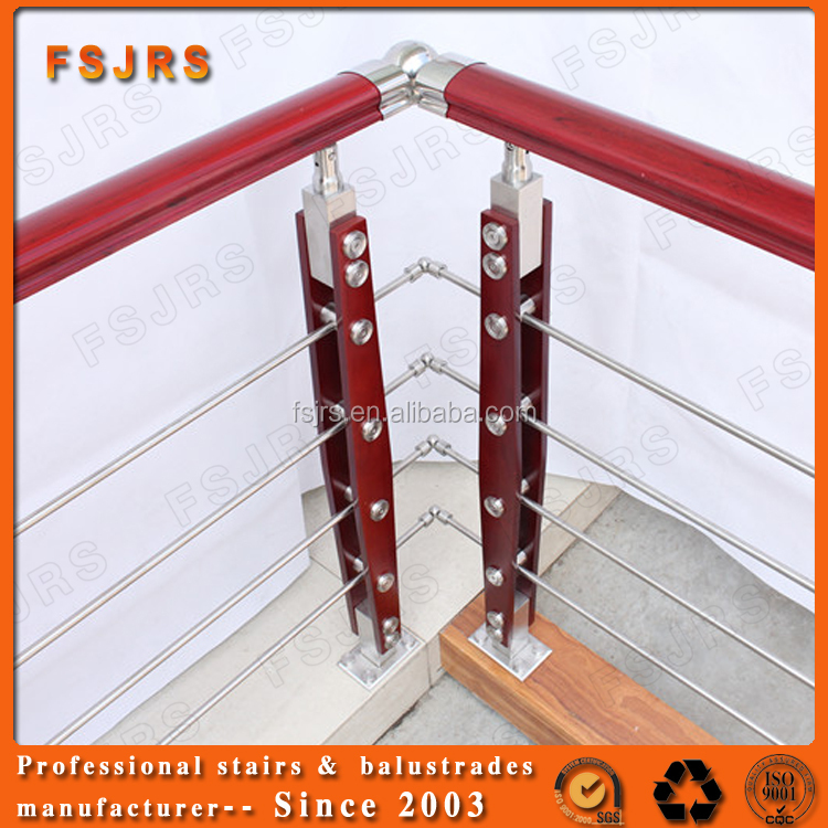 FSJRS decorative wood handrails steel rope stair railing