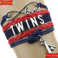 Infinity Love TWINS baseball Sports Team Bracelet Black Red Customize Sports friendship Bracelets