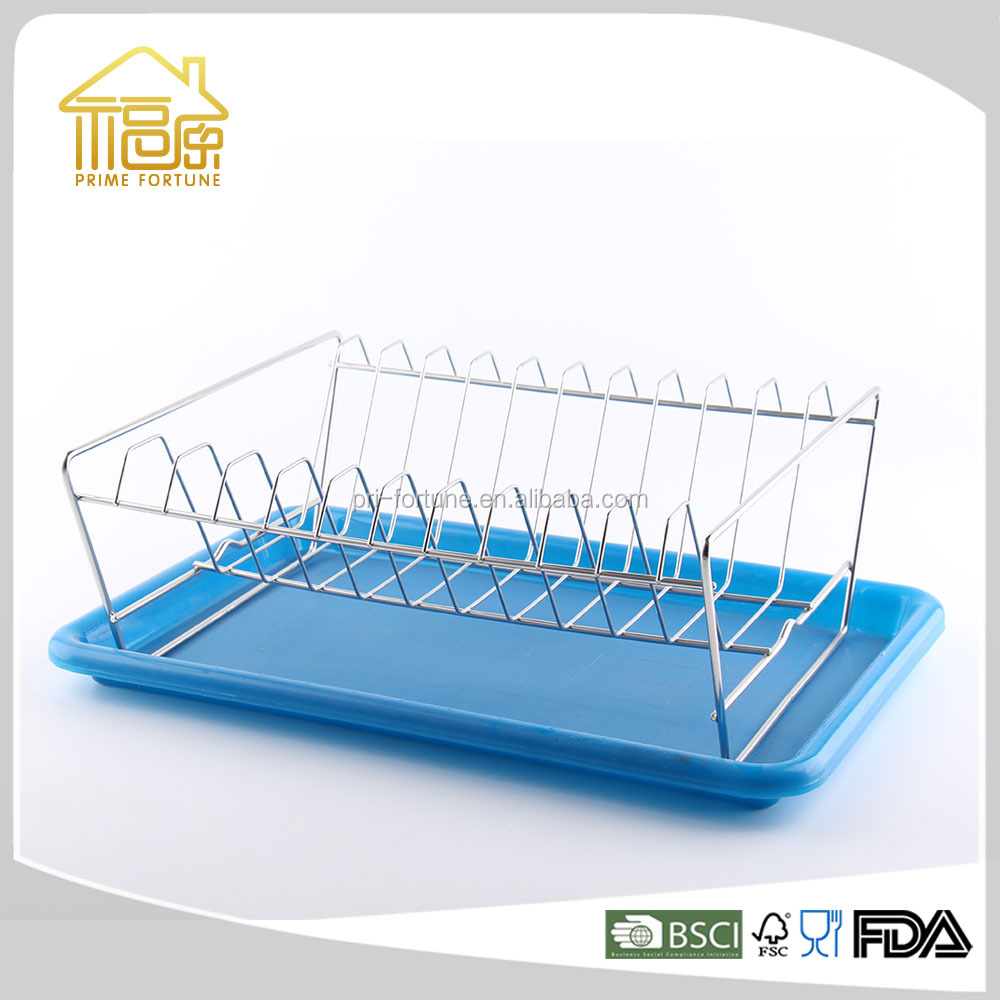 blue kitchen single layer dish rack aluminum dish rack