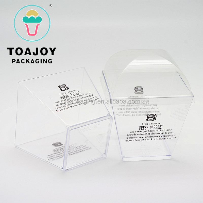 Square transparent pudding mousse cup plastic cup with lid