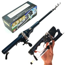 Guangwei collapsible telescopic fishing rod spinning fiberglass folding fishing rod with reel combo set