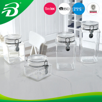 Clear Plastic food storage airtight container/jar/box/canister with clip lid