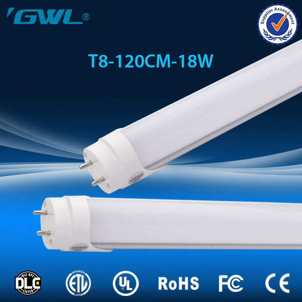 DLC cUL UL listed ballast compatible ac100-277v 120lm/w 18w 4ft led tube light t8