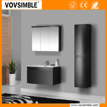 Wall mounted mdf matte black painting bathroom vanity set for Flat black wall paint