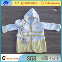 factory wholesale!!!cute infant terry robes / hooded baby bathrobe pattern with booties