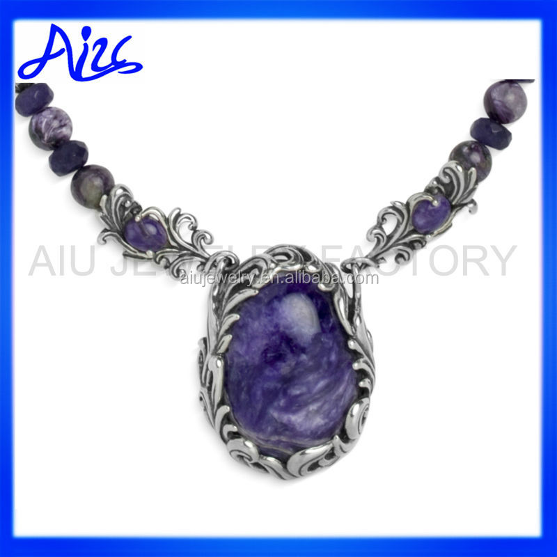 Charolite All Purple Pendant Necklace