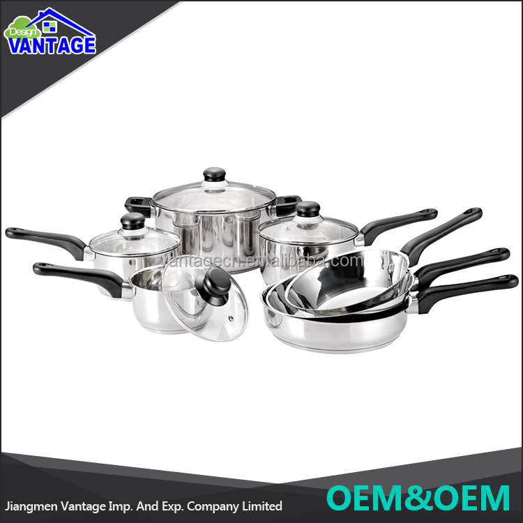 Eco-friendly 11 pcs stainless steel cookware sets kitchenware and cookware