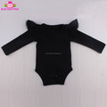 Carters onesie wholesale image fashion kid clothes playsuit custom pattern romper black long sleeve ruffle baby tulle romper