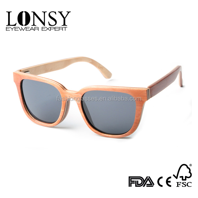 2017 new design orange color skateboard wood unisex sunglasses