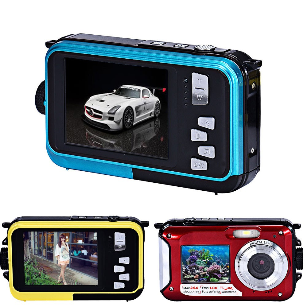 HD 24MP Waterproof digital video camera with double display screen camera