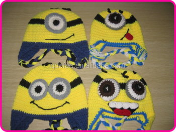 Despicable Me yellow crochet handmade minion hats for kids