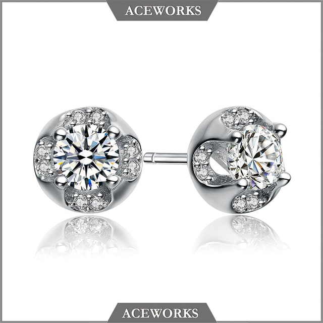 ER1103 Aceworks 925 sterling silver stud earrings with big zircon stone