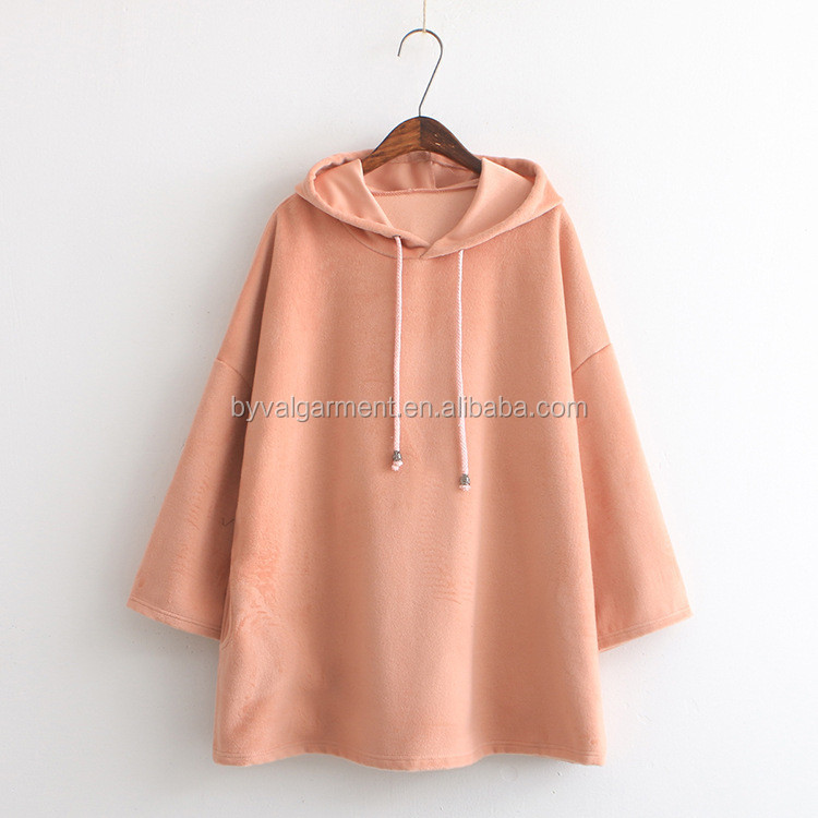 Wholesale OEM Products 3/4 Sleeve Drawstring Plain Long Hoodie