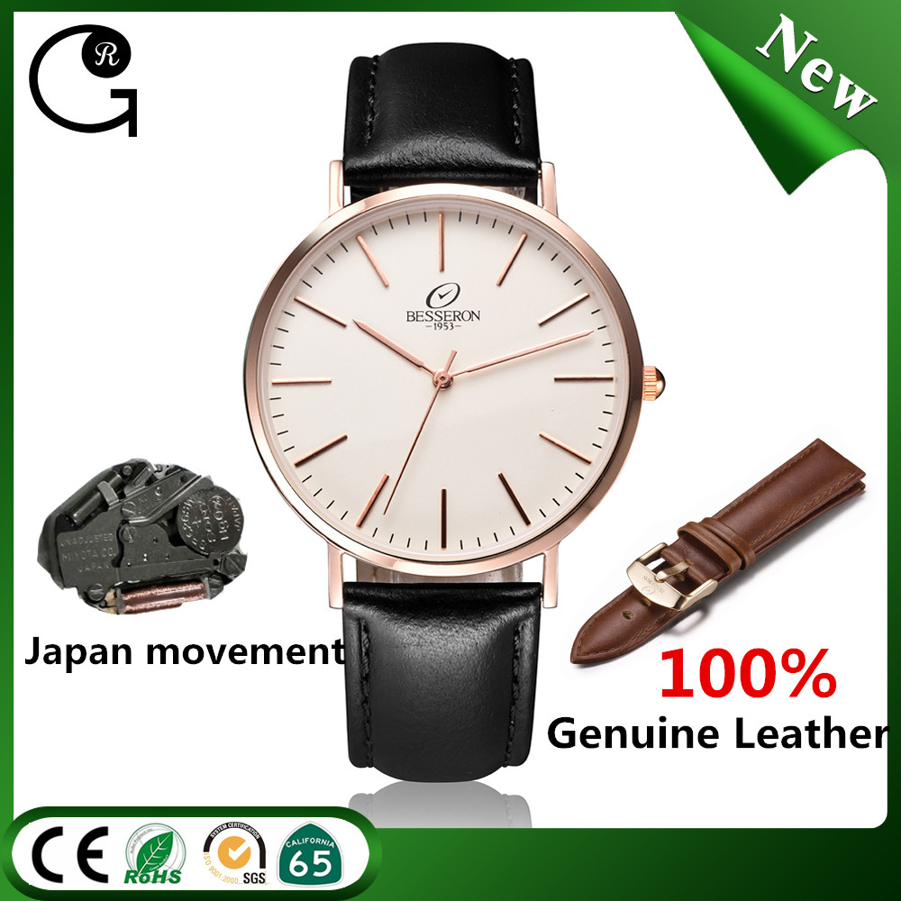 Luxury brand new hot selling design japan movement black dial rose gold couple watch